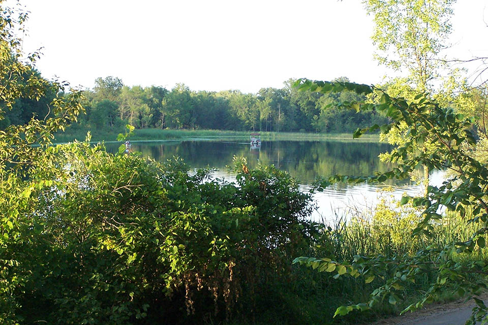the pond at snow lake campground in mi